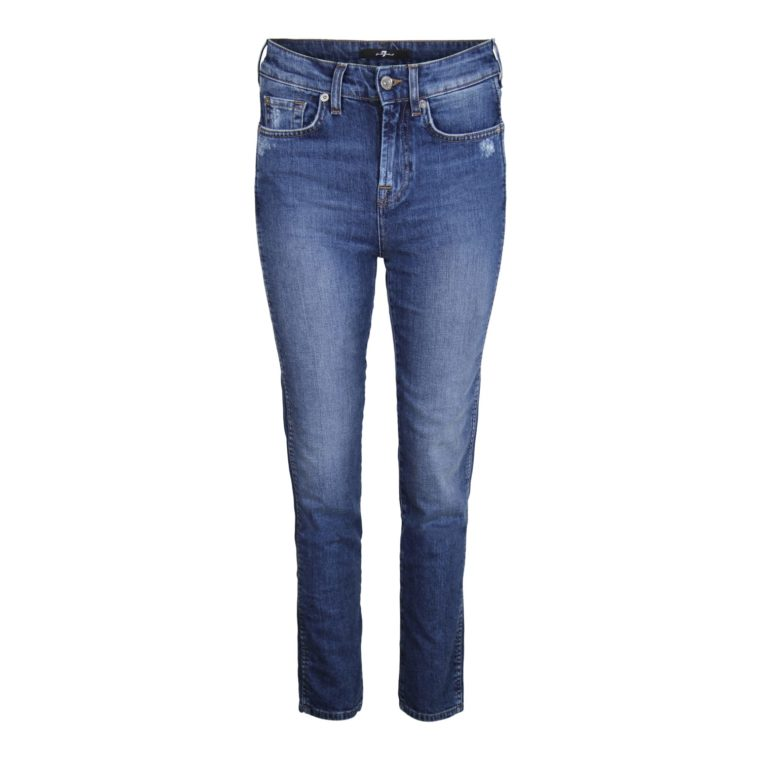 7 For All Mankind Erin High Waist Cropped Straight Jeans