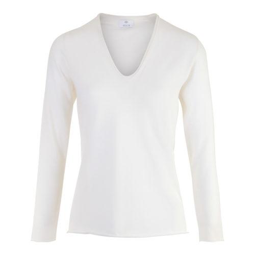ALLUDE V - hals raa hvid Bluse