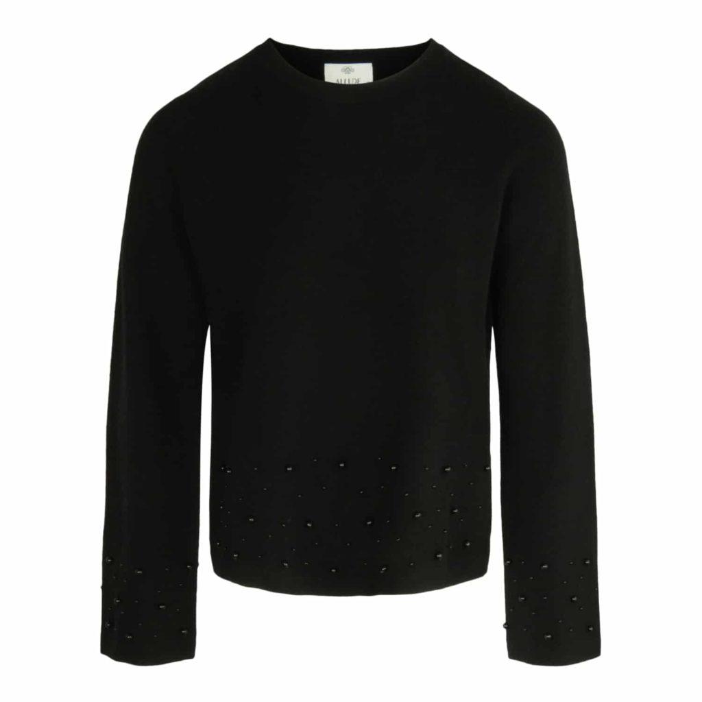 ALLUDE Sort Sweater Med Perler