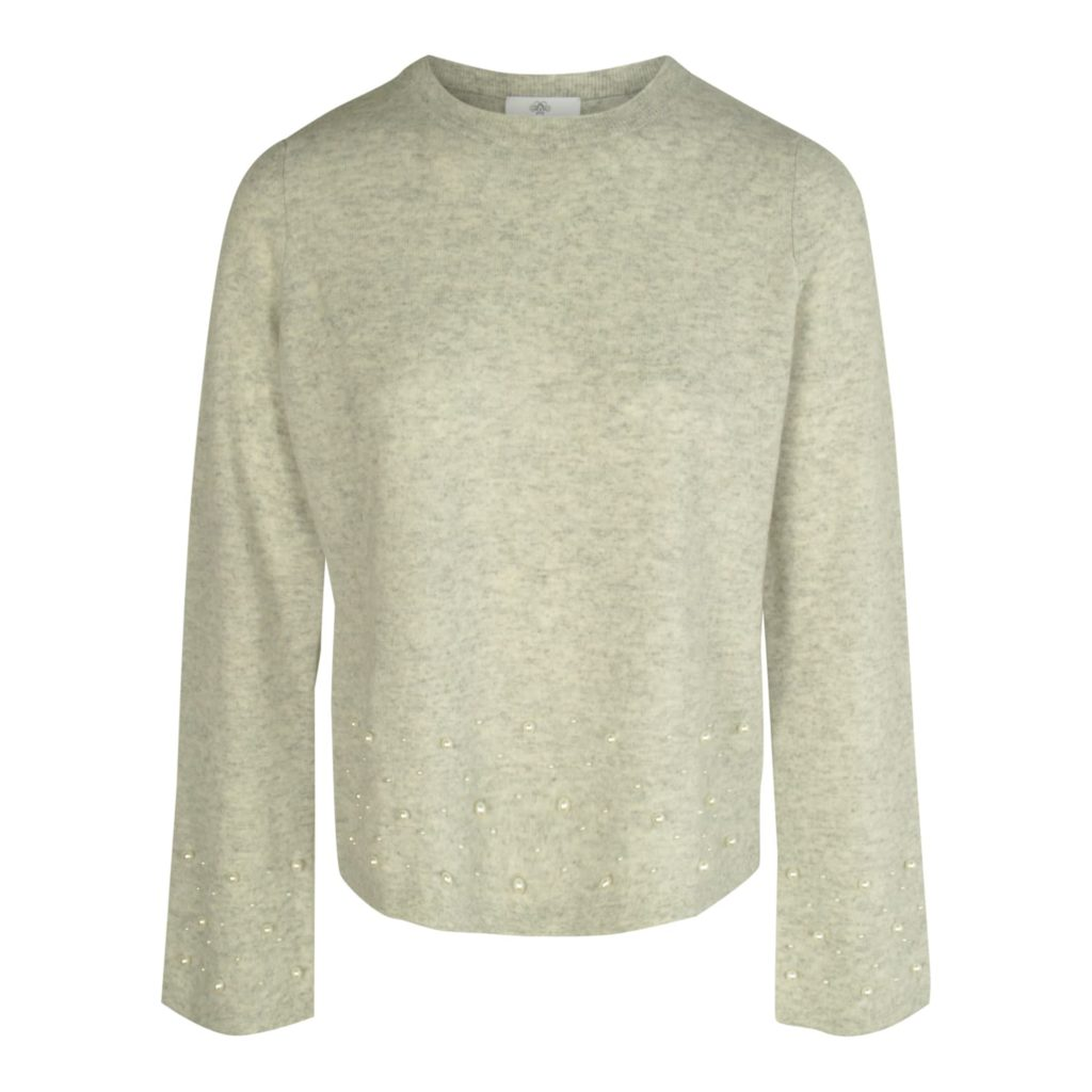 ALLUDE Grå Sweater Med Perler