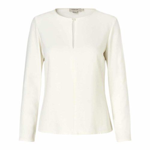 Elise Gug Hvid Bluse Med Perle