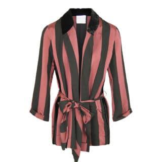 Forte Forte Satin Stribet kimono jakke