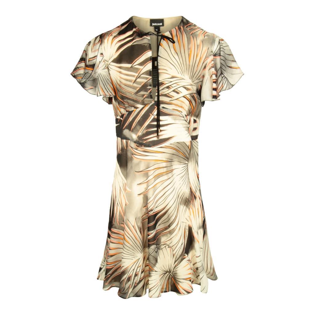 Just Cavalli Summer Palm Print Kjole