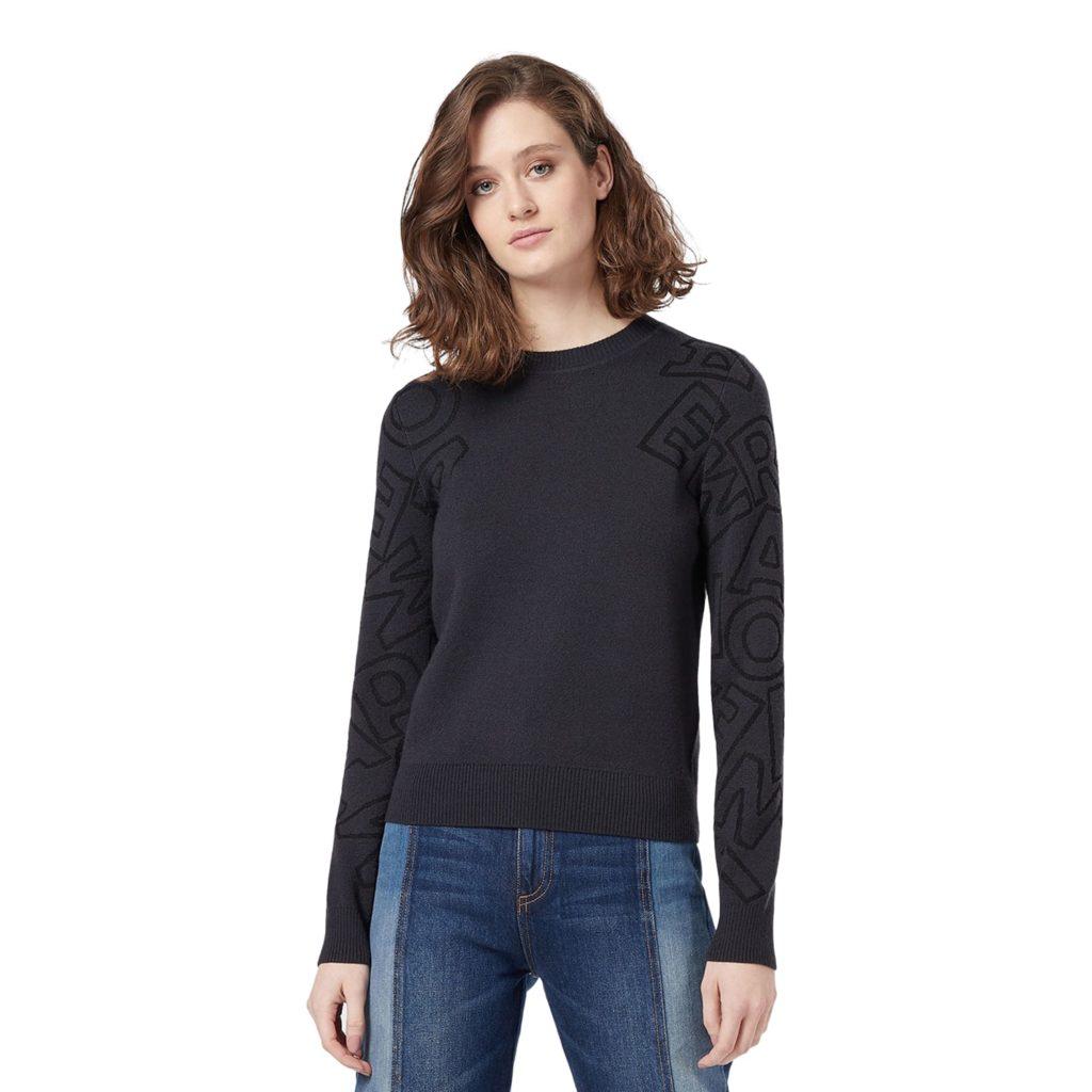 Emporio Armani Blå Strikket Sweater Med Logo