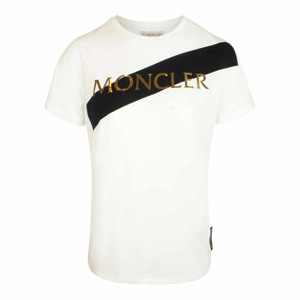 Moncler Hvid Logo Girocollo T-shirt