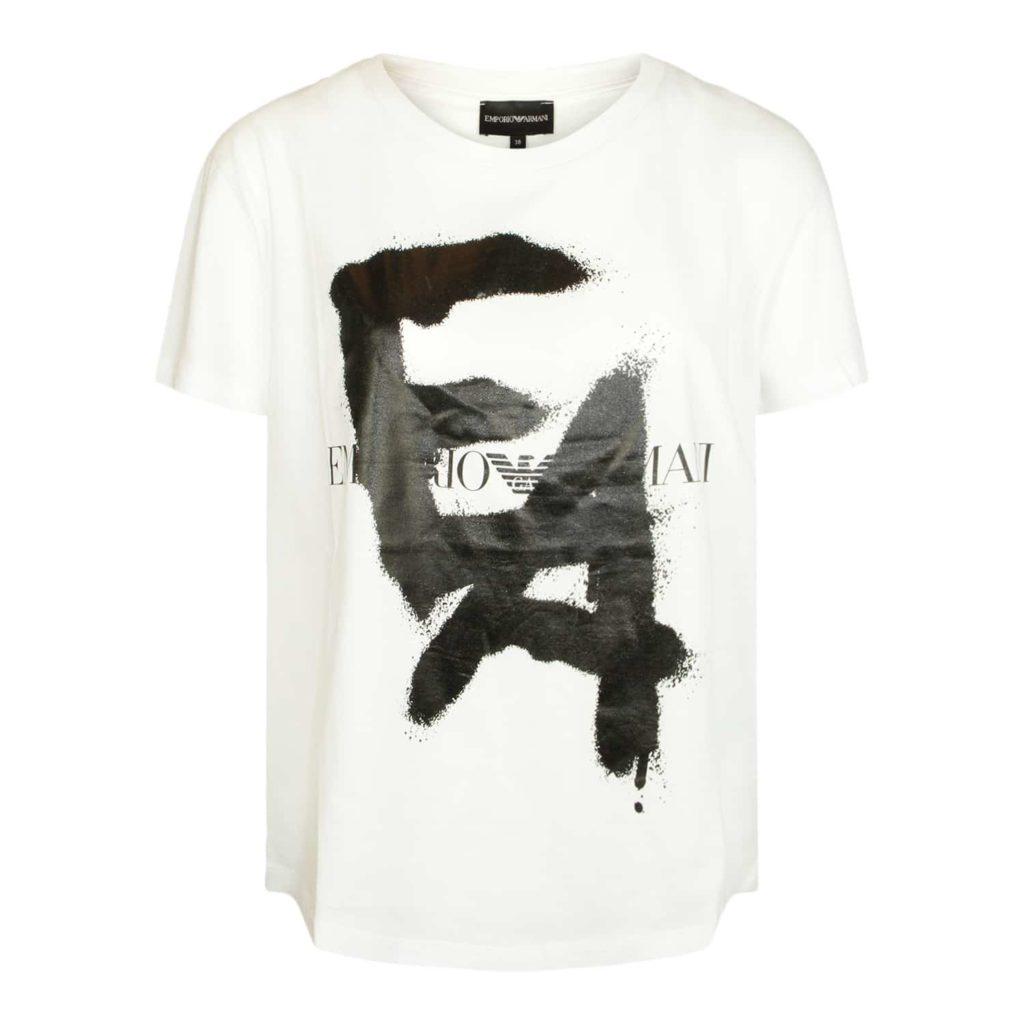 Emporio Armani Hvid T-shirt Med Logo
