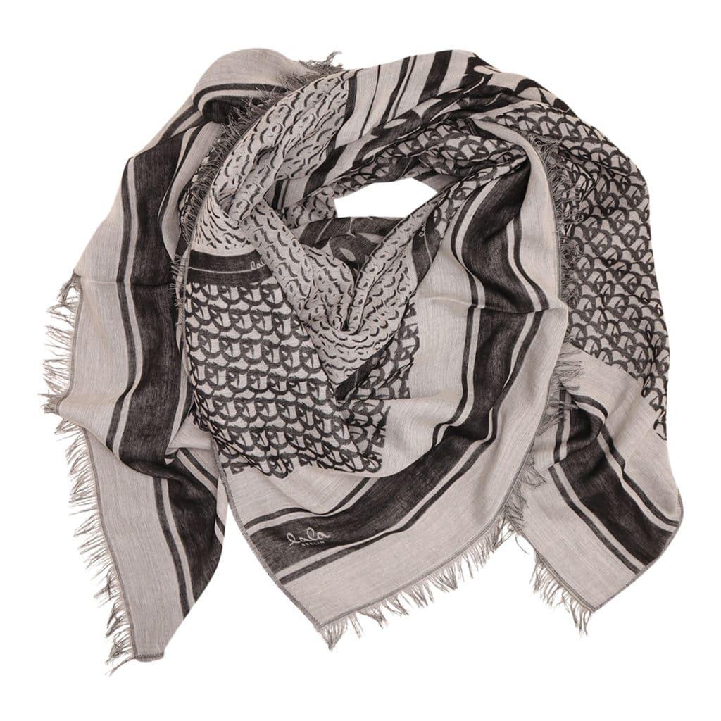 Lala Berlin Monogram Tørklæde Black White (Large)