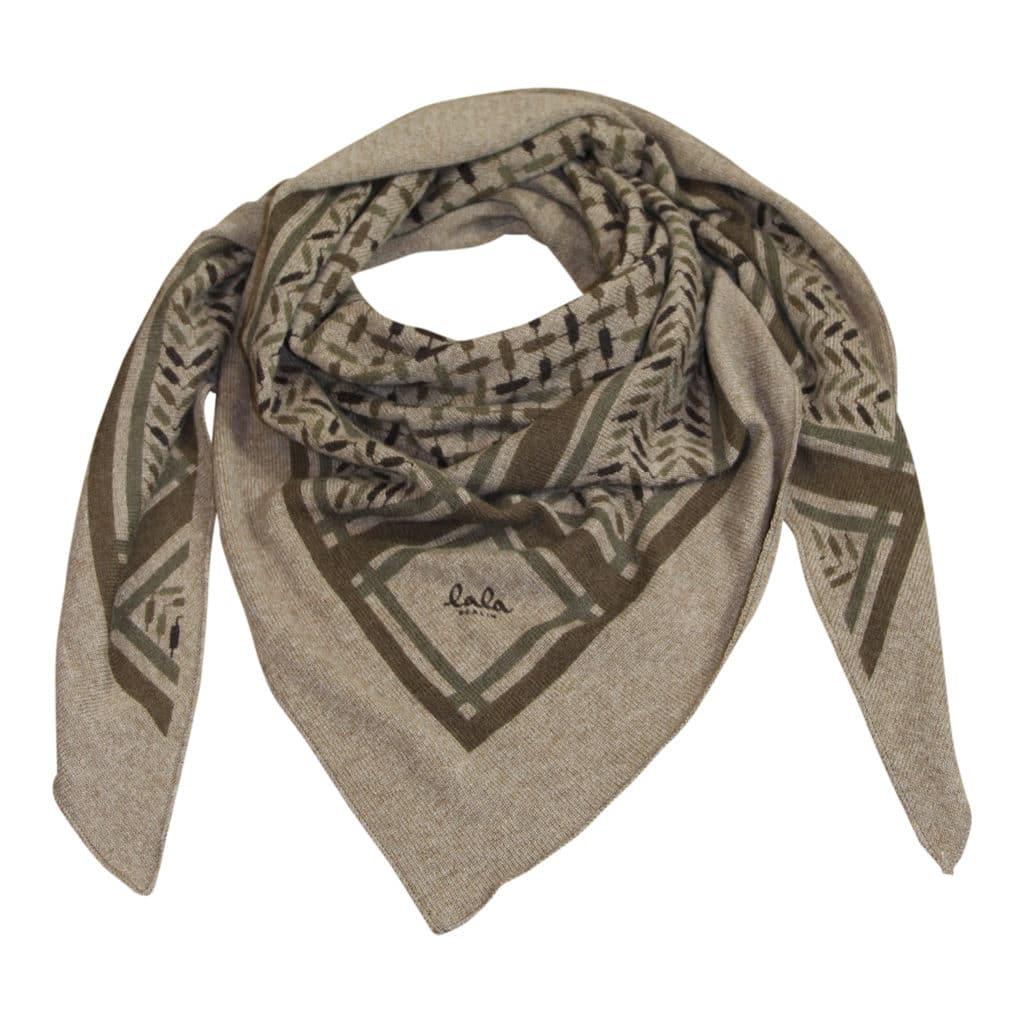 Lala Berlin Triangle Trinity Confetti Choclate on Barbero Tørklæde