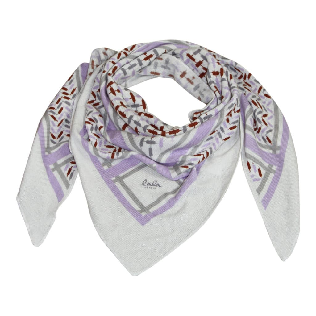 Lala Berlin Triangle trinity Confetti Lilac on Alabastro Tørklæde