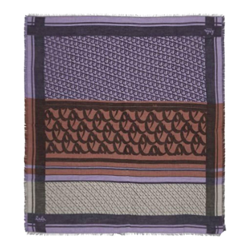 Lala Berlin Cube Monorgram Tørklæde Brown on Lilac