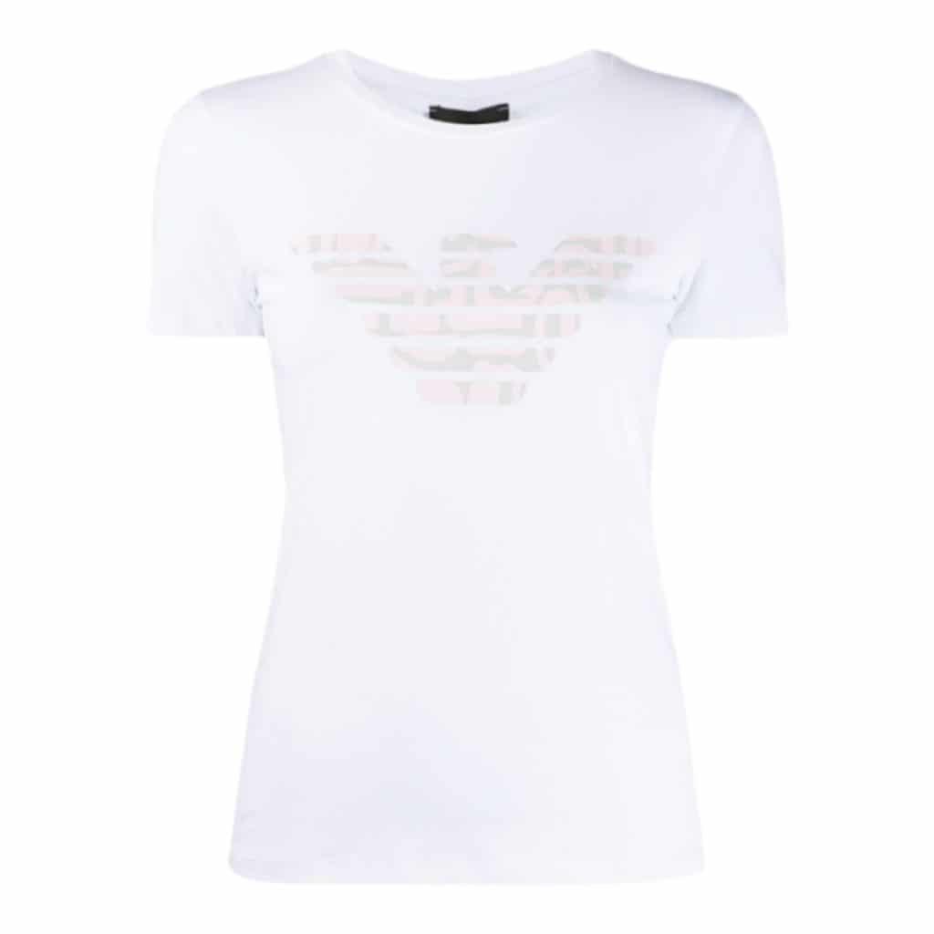 Emporio Armani Hvid Jersey T-shirt Med Logo