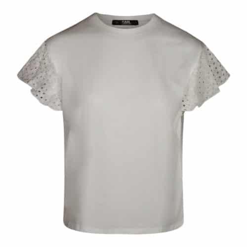 Karl Lagerfeld T-shirt Med Flæse Hvid