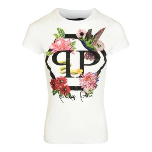 Philipp Plein Hvid T-shirt Med Blomster