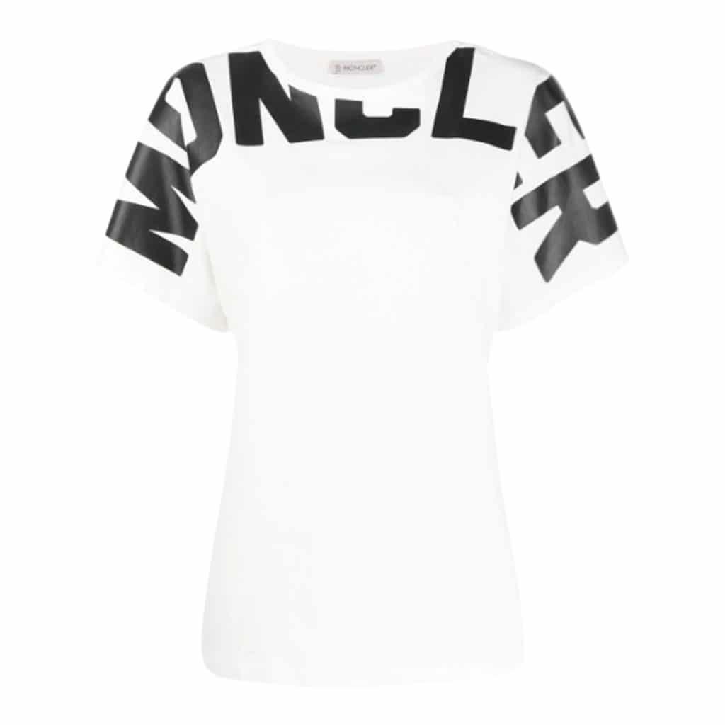 Moncler Girocollo T-shirt Med Skrift Hvid