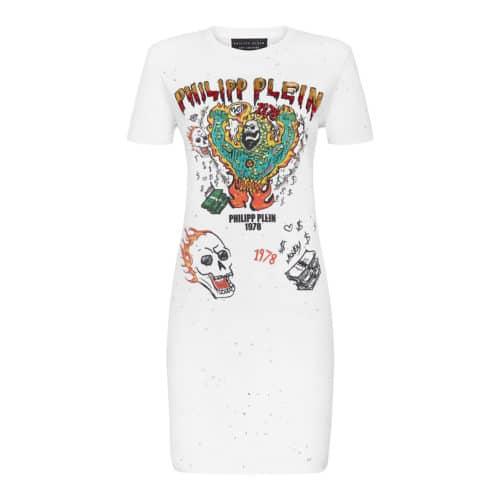 Philipp Plein hvid T-shit kjole Grafitti