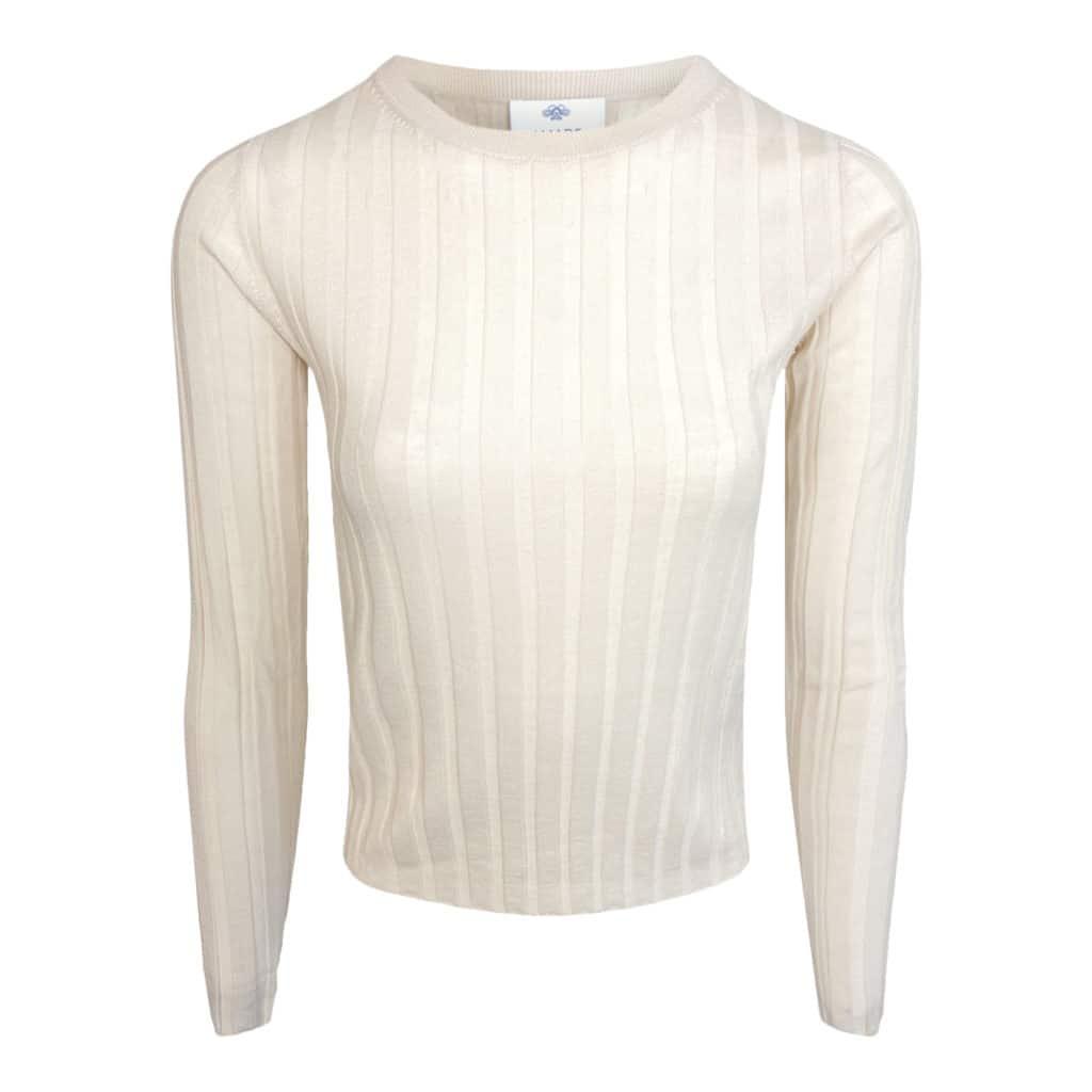 ALLUDE rib uld sweater beige