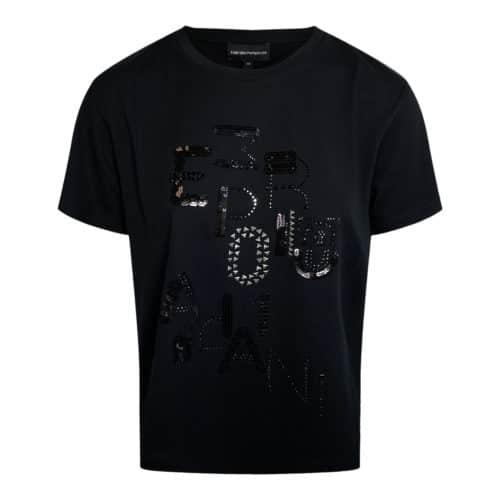 Emporio Armani Sort T-shirt med Rhinsten
