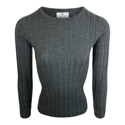 Allude Rib Uld Sweater Grågrøn