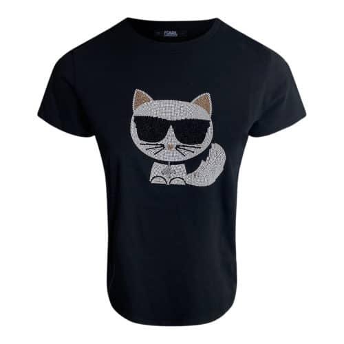 Karl Lagerfeld Ikonik Choupette Rhinsten T-Shirt