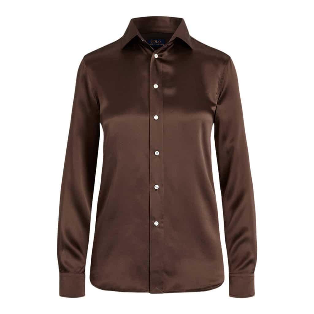 Ralph Lauren Polo Silk Charmeuse Skjorte