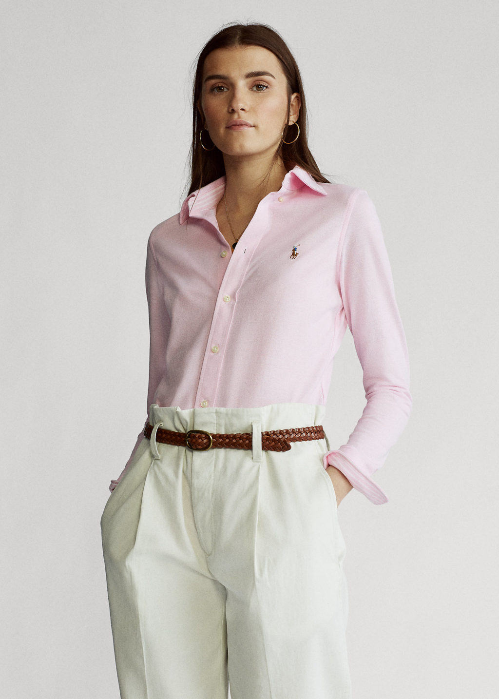 Polo Ralph Lauren Sheidi Skinny Carmel Pink Strik Skjorte