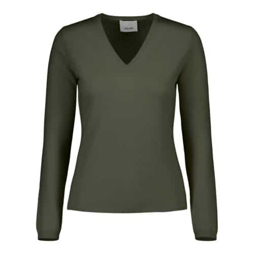 ALLUDE Cashmere V-hals Army Grøn Sweater